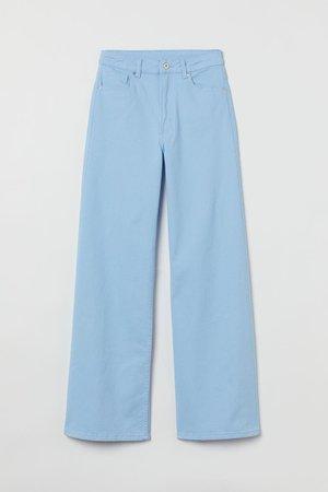 Wide-leg Twill Pants - Light blue - Ladies | H&M US