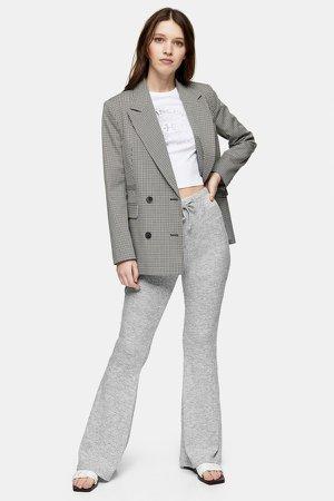 Gray Ribbed Flared Pants