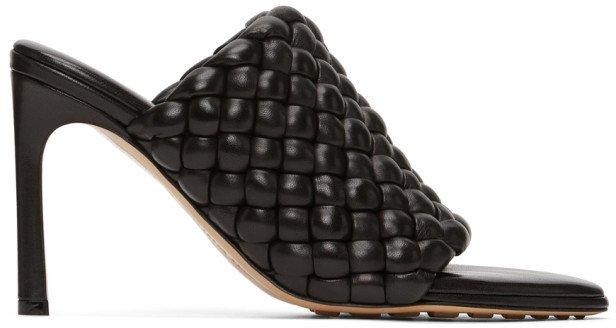 Black Intrecciato Curve Heeled Sandals