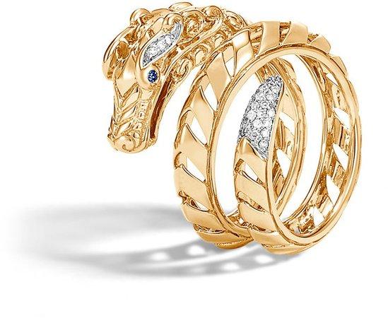 Legends Naga 18K Gold & Diamond Dragon Ring