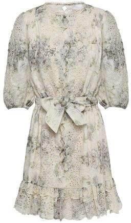 Floral-print Broderie Anglaise Linen Mini Dress