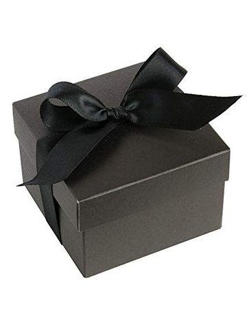 black gift box black ribbon
