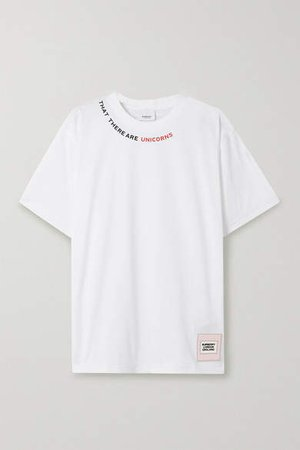 Printed Stretch-cotton Jersey T-shirt - White