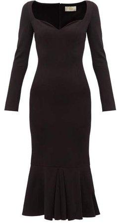 Sweetheart Neckline Jersey Maxi Dress - Womens - Black