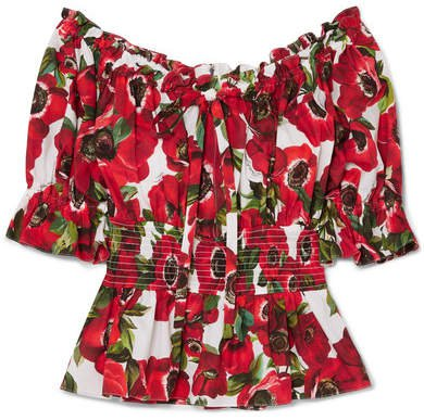 Off-the-shoulder Ruffled Floral-print Cotton-poplin Blouse - Red