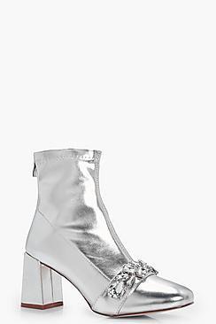 Olivia Metallic PU Embellish Trim Block Heel Sock Boots