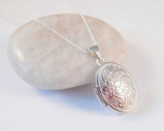 sterling silver oval locket necklace silver locket necklace | ShopLook