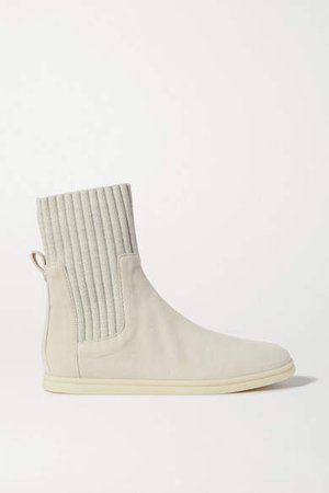 Cocoon Suede And Ribbed Wool Ankle Boots - Beige