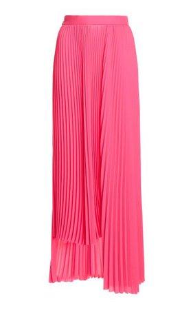 Asymmetric Pleated Georgette Skirt By Balenciaga   Moda Operandi