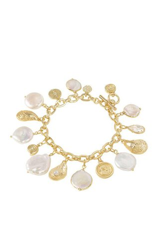 spartina 449 Lab Created Pearl Charm Toggle Bracelet