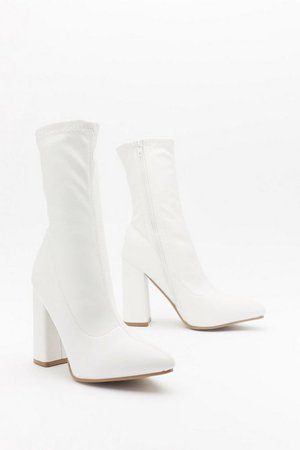 Ridin' High Faux Leather Sock Boots | Nasty Gal