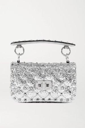 Silver Valentino Garavani Rockstud Spike micro quilted glittered leather shoulder bag | Valentino | NET-A-PORTER