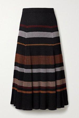 Striped Ribbed-knit Midi Skirt - Black