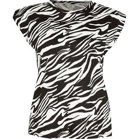 White zebra print padded shoulder tank top   River Island