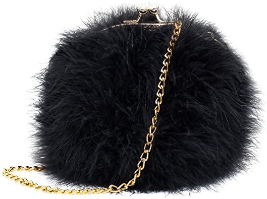 Flada Women's Faux Fluffy Feather Round Clutch Shoulder Bag, Apricot, Medium: Handbags: Amazon.com