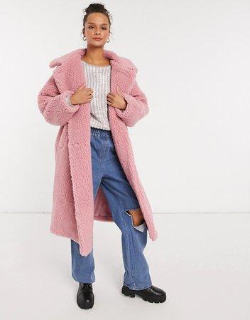 Monki Teddy borg coat in pink | ASOS