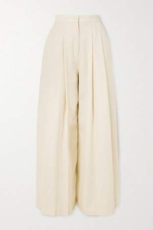 Pleated Wool-twill Wide-leg Pants - White