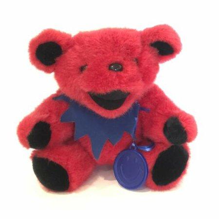 "Vintage Liquid Blue 12"" Red Plush Grateful Dead Band Smile Badge Logo Bear 1990 | eBay"