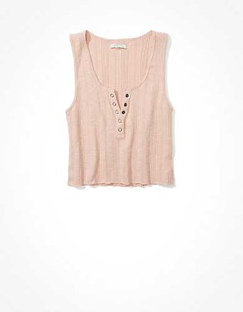 AE Henley Tank Top pink