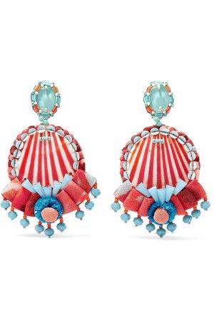 Ranjana Khan   Beaded shell, leather and raffia clip earrings   NET-A-PORTER.COM