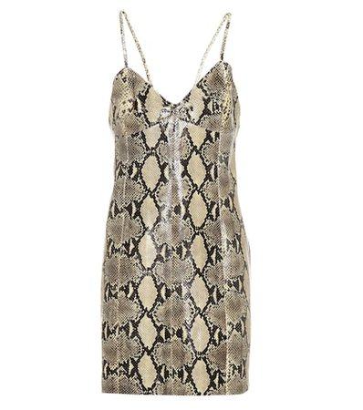 Snakeskin-printed leather dress