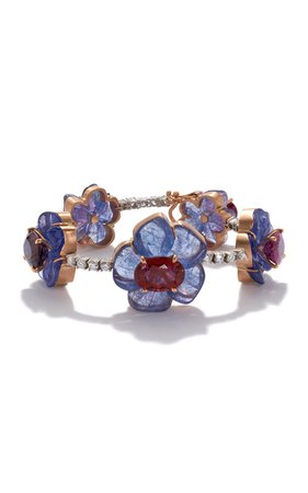 One of a Kind Tropical Flower Tennis Bracelet set with Tanzanite and Pink Tourmaline by Irene Neuwirth | Moda Operandi