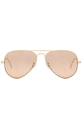 Ray-Ban Aviator Gradient in Gold & Crystal Brown Pink Silver Mirror | REVOLVE