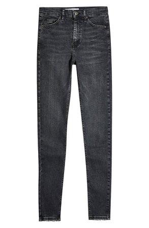Topshop Jamie Raw Hem Jeans (Washed Black) | Nordstrom