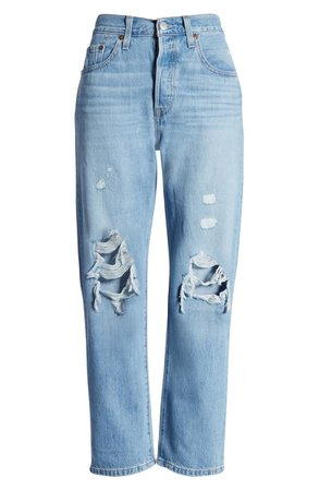 Levi's® 501® High Waist Ripped Crop Straight Leg Jeans (Montgomery Patched) | Nordstrom