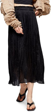 Pleated Crushed Satin Skirt