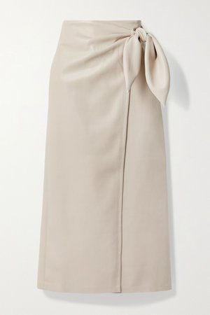 Cream Amas vegan leather wrap skirt   Nanushka   NET-A-PORTER
