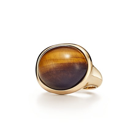 Tiffany & Co, Elsa Peretti Cabochon ring in 18k gold and tiger's eye
