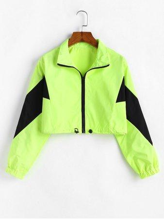 [45% OFF] 2020 Zip Front Neon Lime Cropped Windbreaker Jacket In GREEN | ZAFUL