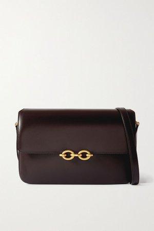 Brown Le Maillon leather shoulder bag | SAINT LAURENT | NET-A-PORTER