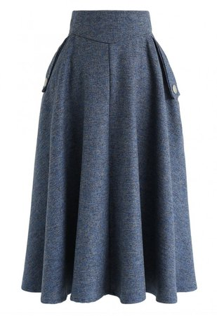 Classic Simplicity A-Line Midi Skirt in Dusty Blue - NEW ARRIVALS - Retro, Indie and Unique Fashion