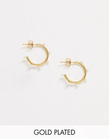 Orelia exclusive faux pearl hoop earrings in gold plate | ASOS