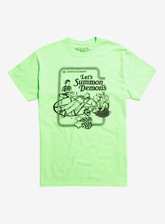 *clipped by @luci-her* Let's Summon Demons Neon Green T-Shirt By Steven Rhodes Hot Topic Exclusive