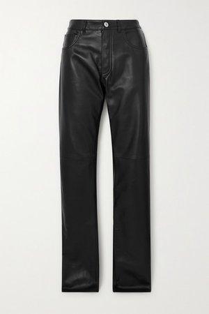 Leather Straight-leg Pants - Black