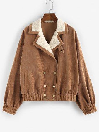 [31% OFF] 2020 ZAFUL Corduroy Teddy Collar Pocket Drop Shoulder Jacket In TIGER ORANGE | ZAFUL