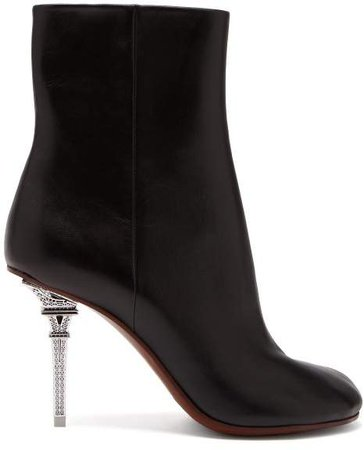 Eiffel Tower Heel Leather Ankle Boots - Womens - Black