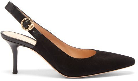 Square-toe Suede Slingback Pumps - Womens - Black