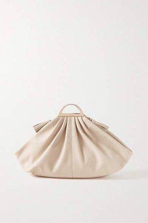 Gabi Large Leather Clutch - Cream