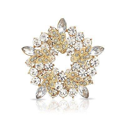 White Pearl Flower Crystal Leaf Wreath Pin Christmas Bridal Brooch
