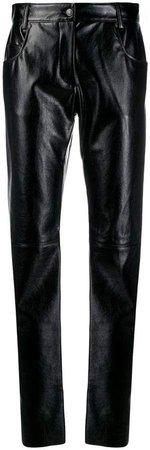 leather-effect trousers