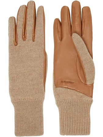 Burberry, logo-embossed knit gloves