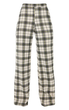 Black Check Print Wide Leg Trousers | PrettyLittleThing