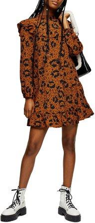 Ruffle Yoke Long Sleeve Minidress