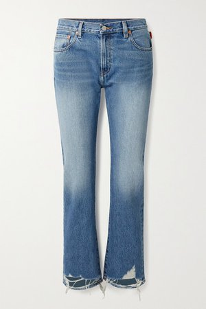 Joni Cropped Distressed Mid-rise Slim-leg Jeans - Mid denim