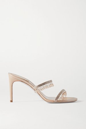 Crystal-embellished Satin And Metallic Leather Sandals - Beige
