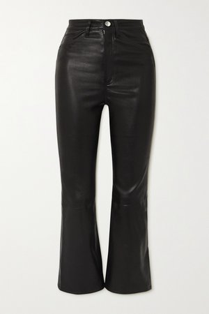 Black Cropped leather flared pants | SPRWMN | NET-A-PORTER
